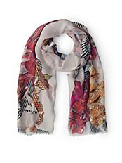 Basler - Schal aus Floral- und Karo Impressionen